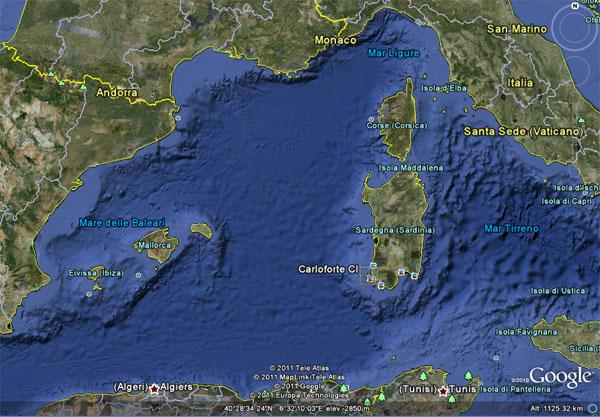 About carloforte posidonia festival carloforte san pietro island sardinia in the mediterranean sea from google earth sciox Gallery