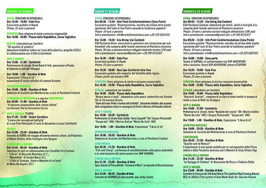 Program Posidonia Festival Carloforte 2015